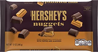 HERSHEY'S Nuggets, Gluten-Free Extra Creamy Milk Chocolate Candy with Toffee and Almonds, 12 Ounce Bag (Pack of 4)