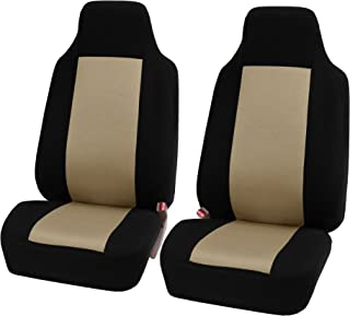 FH Group FB102102 Classic High-Back Cloth Pair Car Seat Covers Beige/Black Color- Fit Most Car, Truck, SUV, or Van