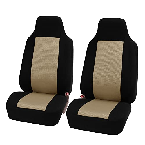 FH Group FH-FB102102 Classic High-Back Cloth Pair Car Seat Covers Beige/