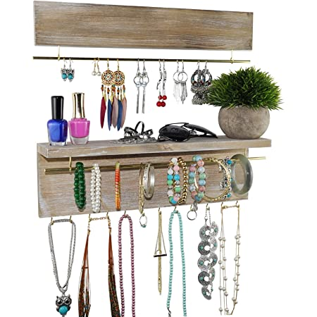 Earrings JackCubeDesign Rustic Wood Wall Mount Jewelry Organizer with Metal Hooks for Necklaces - MK460B Rustic White Ring