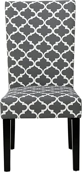 ModHaus Living Modern Fabric Moroccan Quatrefoil Pattern Parsons Style Dining Chairs Wood