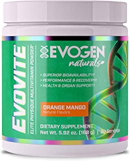 Evogen Evovite Powder | Natural Vitamin & Mineral Powder with Chelated Minerals, Beta-Alanine, and Curcumin, Artificial Flavor, Color, and Sweetener Free | 30 Servings | Natural Orange Mango