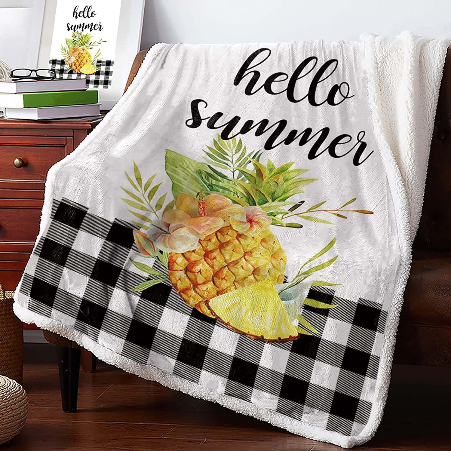 Sherpa OFFicial Flannel Throw Blankets Credence Tropical Fruit Pineap Fresh Yellow
