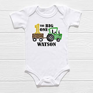 Personalized Baby Boy First Birthday Outfit | Baby Name Bodysuit or Shirt | The Big One Farmer Baby Shower Gift