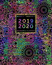"""2019 2020   Weekly + Monthly Academic Planner: July to June   Colorful Flowers + Mandala Doodles: Rainbow Zentangle Cover (8x10"""")"""