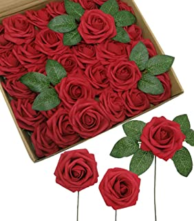 D-Seven Artificial Flowers Fake Roses Wedding Centerpieces Arrangements 30PCS Real Looking Roses with Stem for DIY Wedding Bridal Bouquets Baby Shower Party Home Office Hotel Decorations(Dark Red)