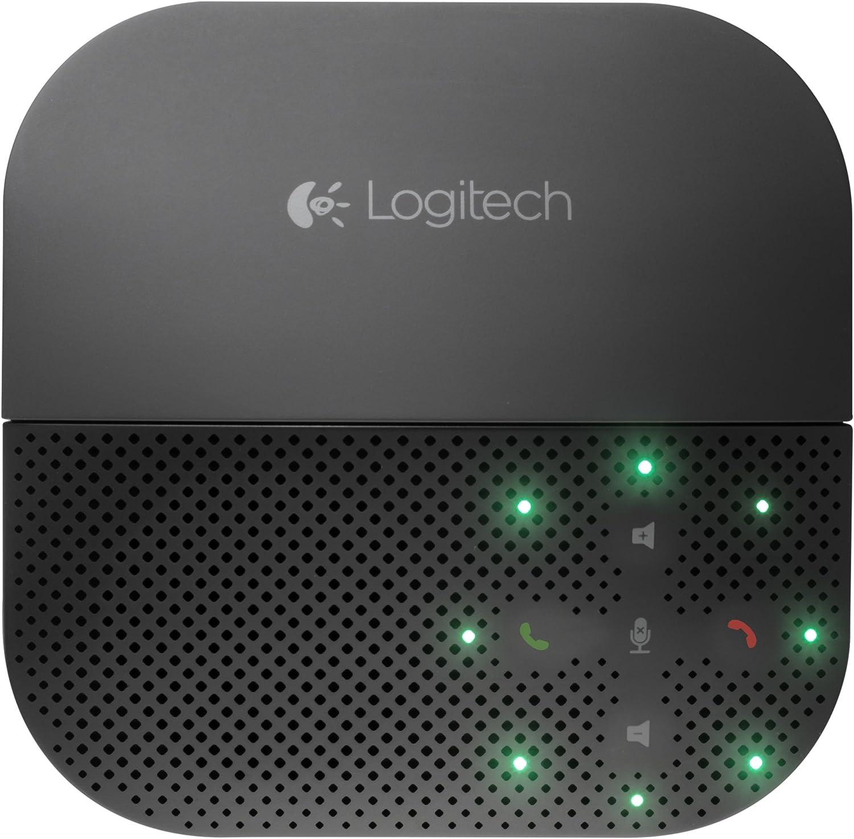 Logitech P710e Altavoz manos libres para dispositivos móviles, conexión Bluetooth/USB, batería 15h, soporte integrado, cancelación de eco y ruido, controles táctiles, cable USB integrado, Grafito