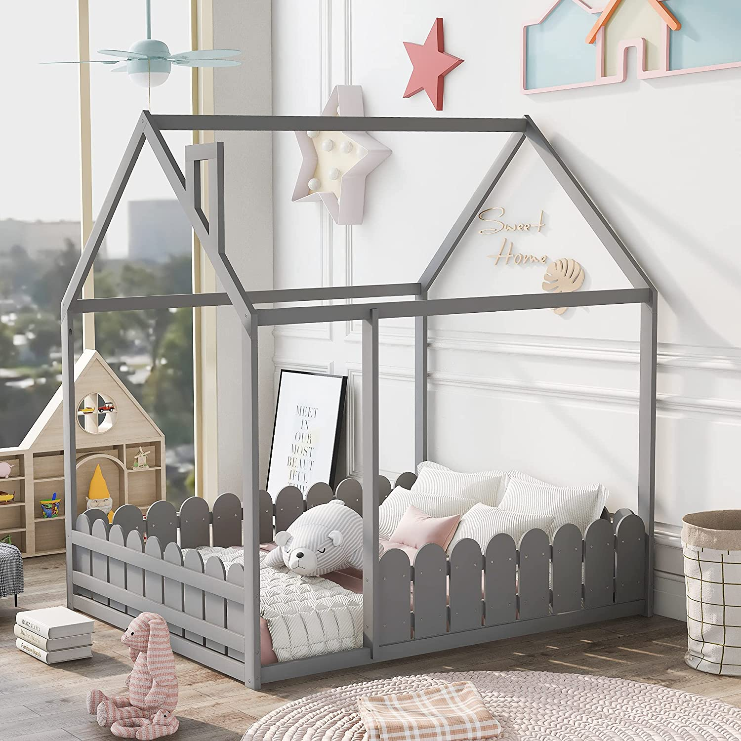 Large discharge sale LZ LEISURE ZONE Full House Bed Size Kids B Frame Las Vegas Mall Wood