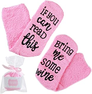 Childom Wine Socks with Cupcake Gift Packaging, Combed Cotton If You Can Read This, Bring Me Some Wine Novelty Socks Funny Women's Birthday Gift Present Idea for Her, Wife