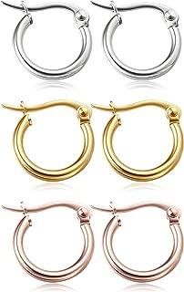 Jstyle 3-4 Pairs Stainless Steel Hoop Earrings for Women Huggie 10MM-50MM