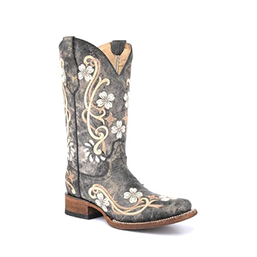 a96ac2fcf59 Corral Circle G Boot Women s 12-inch Distressed Floral Embroidery Square  Toe Black Multicolor