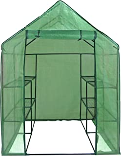 ZENY Mini Walk-in Greenhouse with PE Cover Portable Plants Flower Garden House Indoor Outdoor 2 Tiers 8 Shelves and Roll-up Zipper Door 57