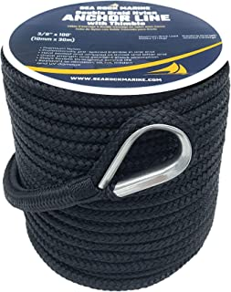 Sea Rock Marine 100� x 3/8� Premium Double Braid Nylon Anchor Rope with 316SS Thimble - Anchor Line for Boats, Quality Boat Rope, Marine Rope, Boat Accessories - Black