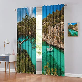Blackout Curtains for Living Room- Printed Curtain Small-Yacht-Floating-in-Sea-Majorca-Spain-Rocky-Hills-Forest-Trees-Scenic-View Energy Efficient Room Darkening Set of 2 Panels W120 x L107