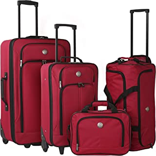 Travelers Club Genova 4-Piece Softside Upright Luggage Set, red