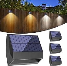 BRIDIKA Solar Fence Lights LED Solar Wall Lights Outdoor IP65 Waterproof 2 Lighting Modes for Backyard Garden Garage and P...