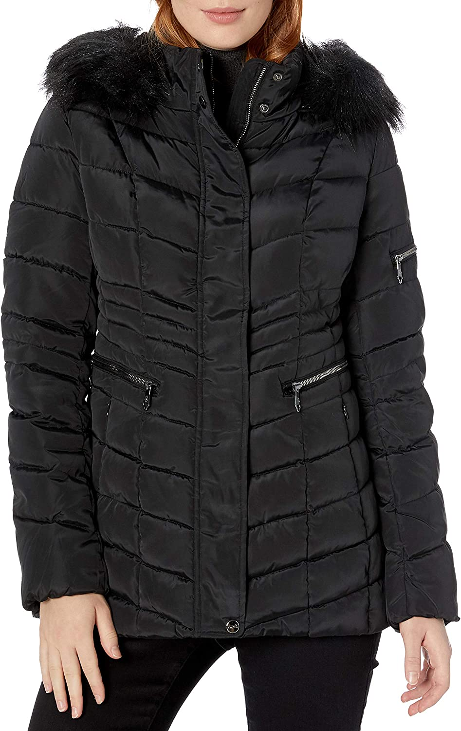Nanette Lepore Women's Chevron Quilted Puffer Jacket