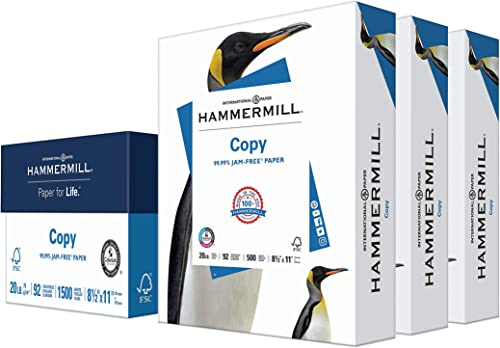 Hammermill Printer Paper, 20 Lb Copy Paper, 8.5 x 11 - 3 Ream (1,500 Sheets) - 92 Bright, Made in the USA