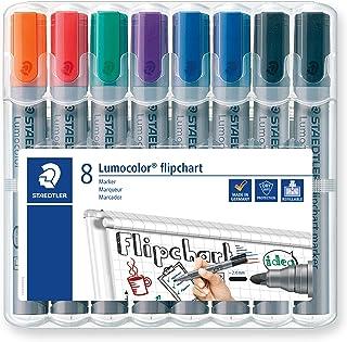 STAEDTLER Lumocolor 356 WP8X Flipchart-Marker Rundspitze ca. 2 mm Linienbreite, Set mit 8 Markern, Ideal für Flipchart-Blöcke, farbintensiv, geruchsarm, hohe Qualität