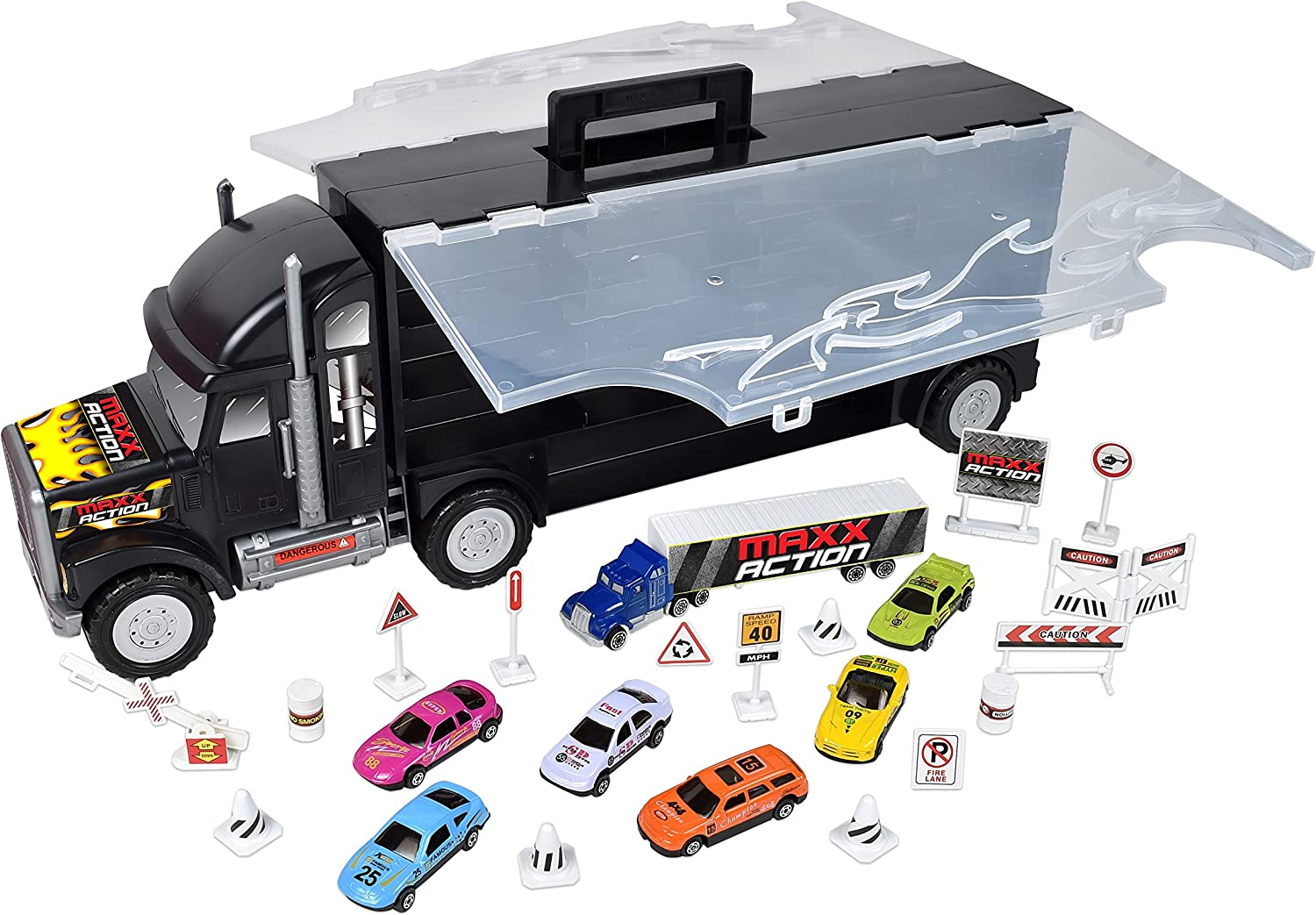 Sunny Days Entertainment Big Rig Hauler Case with 6 DieCast Cars & 16 Accessories