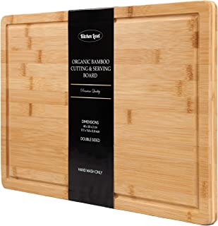 Bamboo Cutting Board with Juice Groove EXTRA LARGE Kitchen Chopping Board for Vegetables Carving Board for Meat Lightweight Butcher Block Heavy Duty Serving Tray