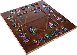 Mancala Board Game- 4 Player, Square Root Strategy Game, Folds for Storage or Travel & Includes 96 Plastic Stones for Kids & Adults by Hey! Play!