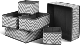 Homfa Closet Drawer Organizer Foldable Fabric Cloth Storage Cubes Basket for Underwear, Bras, Socks, 6 Pack Stripe
