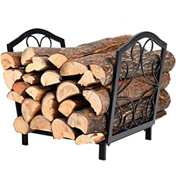 PHI VILLA 16 Inch Small Decorative Indoor//Outdoor Firewood Racks Steel Wood Storage Log Rack Holder