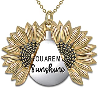 You are My Sunshine Necklace - Sunflower Necklace Locket...