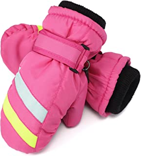 Flammi Kids Ski Mittens Fleece Lined Winter Snow Mittens...