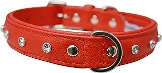 """Angel, Athens Goldfish Orange Rhinestone Collar 100% genuine Leather, 22"""" x 1"""", Soft Padded cushion backing, Fits Boxers, ..."""