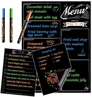Magnetic Menu Board for Fridge with neon bright liquid chalk markers - Weekly Meal Planner with Grocery List and Notepad C...