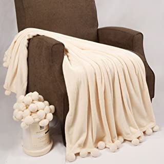 Home Soft Things Pompom Bed Couch Throw Blankets, 50
