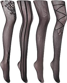 Women Sexy Suspender Tights Fishnet Thigh-High Garter Stockings Pantyhose Black Pattern 4 Pack