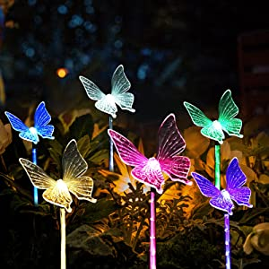6 PCS Multi-Color Butterfly Solar Yard Lights Outdoor Garden Decorative, Solar Powered Waterproof Stake Pathway Lights for Outdoor, Garden, Patio, Lawn Decor