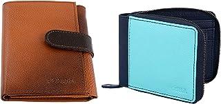 Posha Genuine Leather Wallet Combo for Women, Girls - Diwali Gift for Girl Women Girlfriend (Green & Tan)