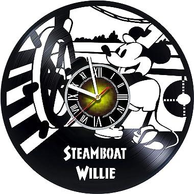 Toffy Workshop Walt Disney Steamboat Willie Design Vinyl Wall Clock - handmade gift for any occasion - unique birthday, weddi