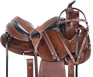 AceRugs GAITED Saddle Set Western Horse TACK Package Premium Tooled Leather Comfy CUSH SEAT Pleasure Trail