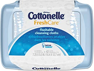 Cottonelle 36734CT Fresh Care Flushable Cleansing Cloths, White, 3.75 x 5.5, 42 per Pack (Case of 8 Packs)