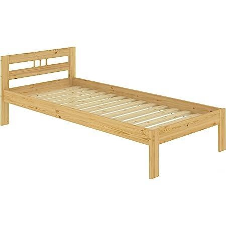 Erst-Holz Lit Simple en pin Massif Naturel 90x190, Jolie tête de lit, avec sommier à Lattes 60.64-09-190