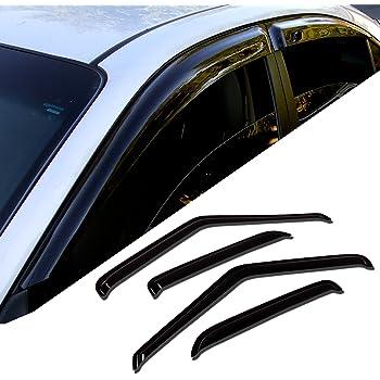 Tuningpros WD2-499 Outside Mount Window Visor Deflector Rain Guard Dark Smoke 4 Pcs Set Compatible With 2005-2011 Audi A6