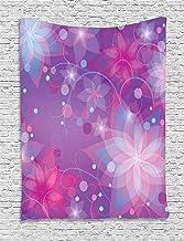 ALKKVI Tapices de Pared Purple Tapestry Floral Dreamlike Composition with Romantic Lilies Little Dots and Swirls decoración para el hogar,para dormitorios,Salones o como Manta para Playa 60 W X 80 L