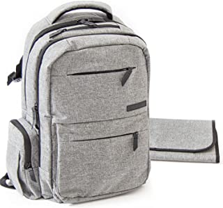 Baby Diaper Bag Backpack for Women - Multi-Function Organizer with Stroller Straps, Large Changing Pad and Insulated Pockets, Grey - Free Storage Bag Included