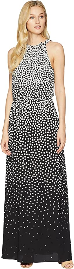 Moody Dot Maxi Halter Dress
