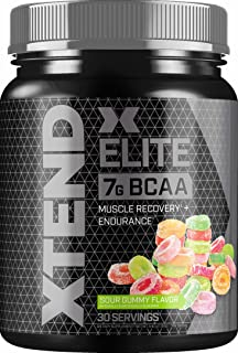 Scivation XTEND Elite BCAA Powder Sour Gummy | Sugar Free Post Workout Muscle Recovery Drink with Amino Acids | 7g BCAAs f...