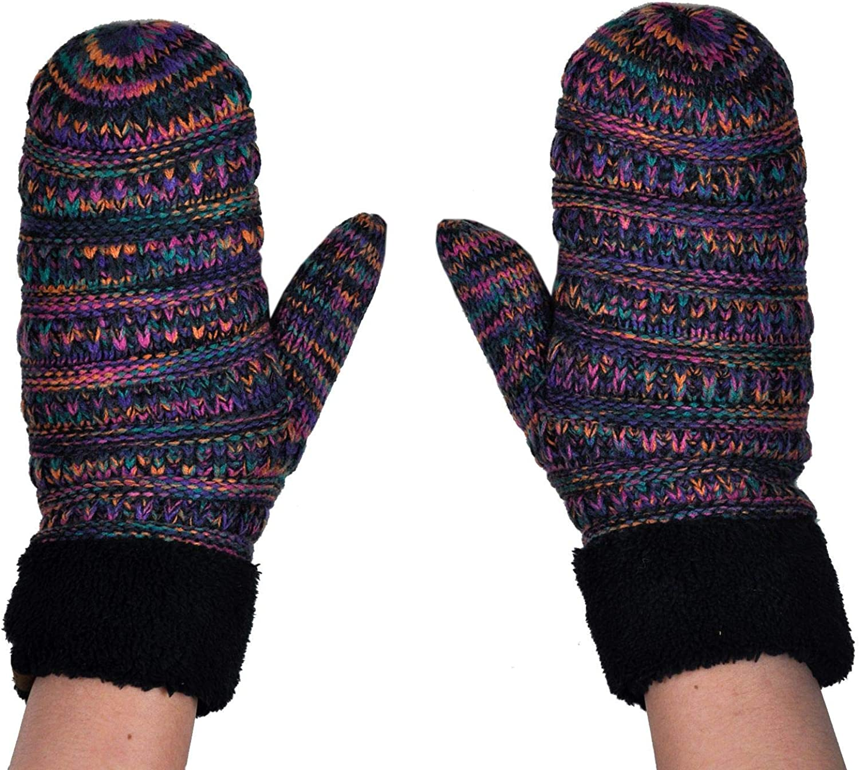 C.C Winter Warm Knit Soft Fuzzy Lined Cuff Mittens Gloves