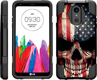 TurtleArmor | Compatible with LG Stylo 4 Case | Q Stylus Case | Stylo 4 Plus Case [Dynamic Shell] Hybrid Dual Layer Hard Shell Kickstand Silicone Case - US Flag Skull