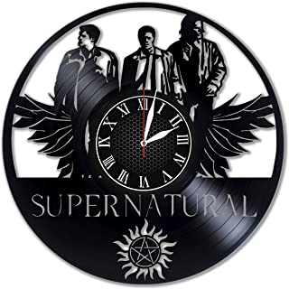 Supernatural Wall Clock Vinyl Wall Clock Art Gift Room Modern Home Record Vintage Decoration Gift for Fans Home & Office Bedroom Nursery Room Wall Decor - Customize Your Clock !