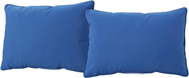 Christopher Knight Home Coronado Outdoor Square Water Resistant Pillows, 2-Pcs Set, Blue