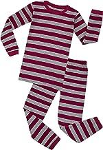 Elowel Boys Girls Striped 2 Piece Pajama Set 100% Cotton (Size 12 Months -12 Years)